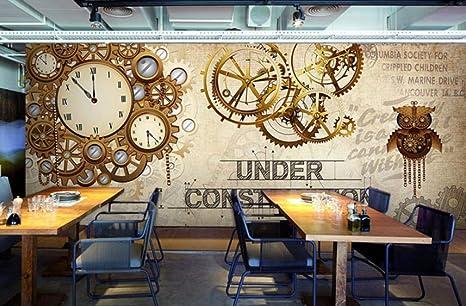 Sktyee 3d Photo Wallpaper Vintage Mechanical Skull Clock