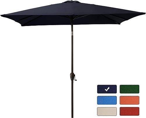 Bumblr Rectangular Patio Umbrella, 7.5Ft x 7.5Ft Outdoor Market Umbrellas with Push Button Tilt Crank Lift,8 Sturdy Square Ribs, Navy