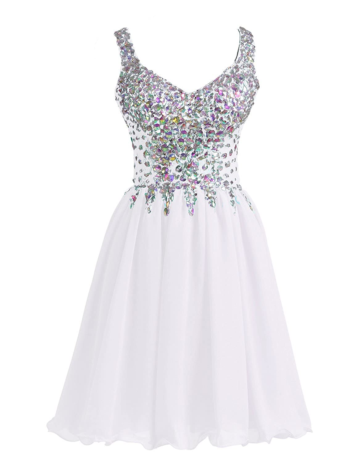 White H.S.D Womens A Line Straps Beaded Bodice Homecoming Dresses Prom Gowns