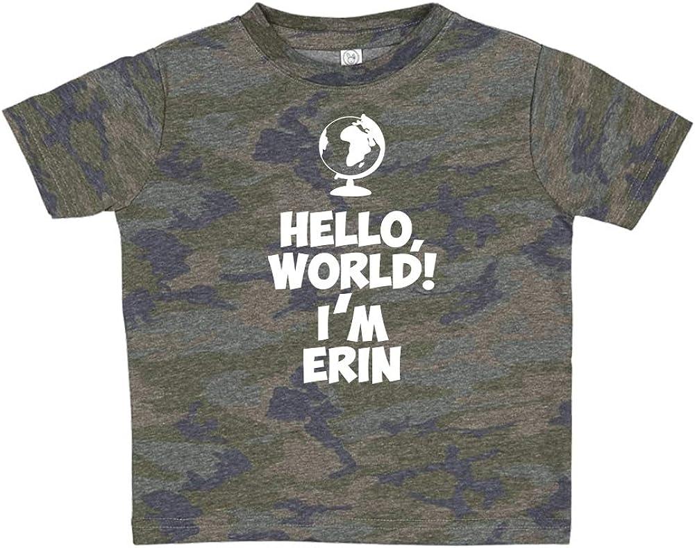 Im Erin World Personalized Name Toddler//Kids Short Sleeve T-Shirt Mashed Clothing Hello