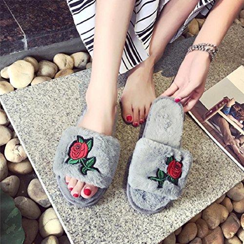 Flip Flop Da Donna In Morbida Ecopelle Con Scivolo Piatto Pantofola Tenere Caldo Ricamo Rose Sandalo Grigio