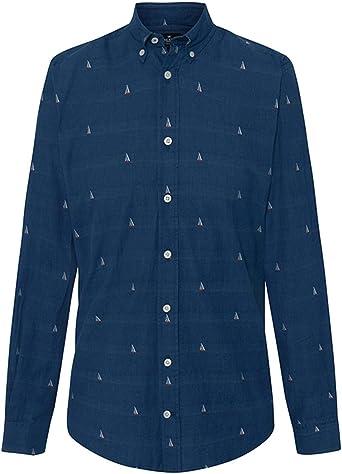 Camisa Hackett Sail Boat Fil Coupe Marino Hombre S Azul: Amazon.es: Zapatos y complementos