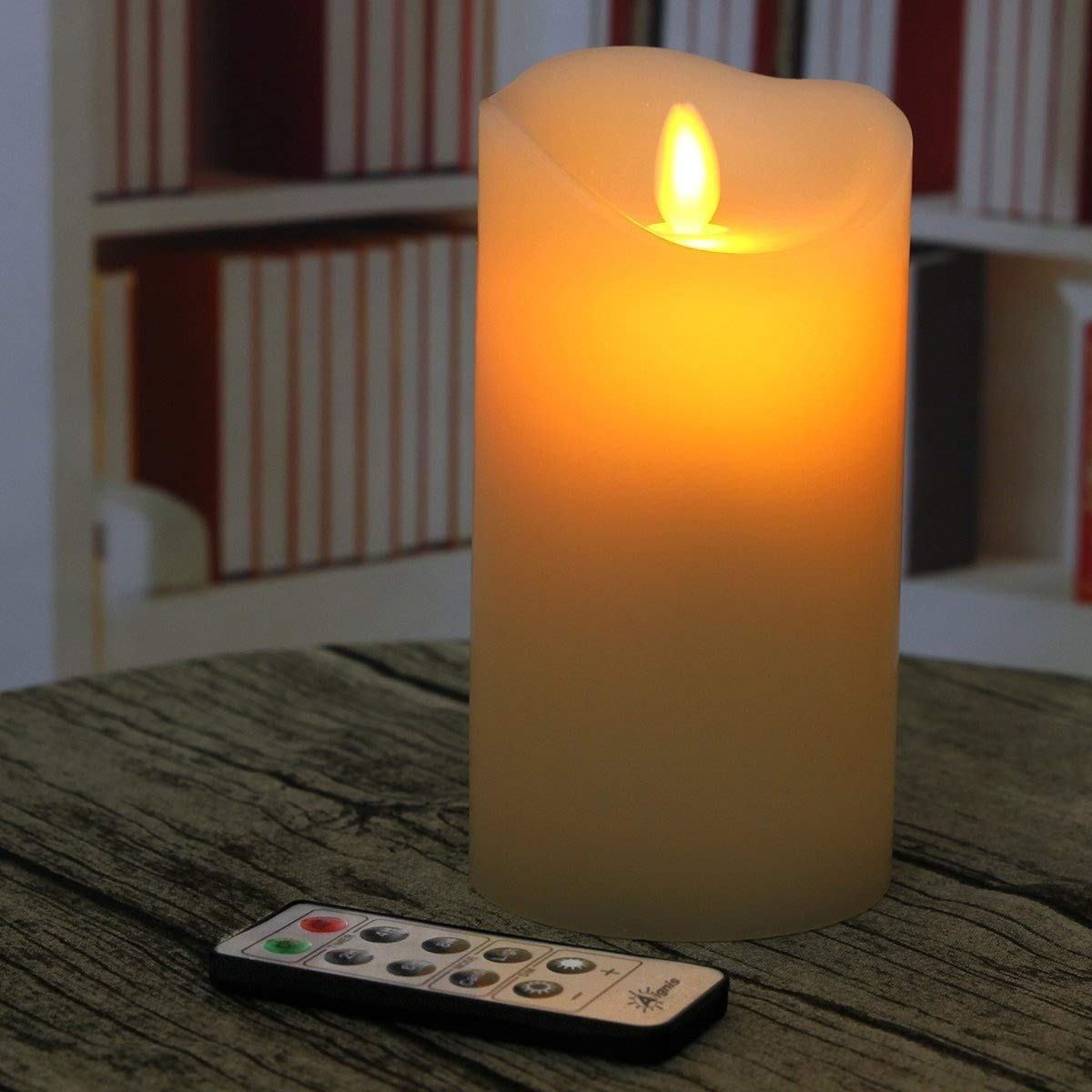 Aignis Battery Candle, Flameless Candle Realistic Moving 6 inch Flickering Candle With Remote Timer by