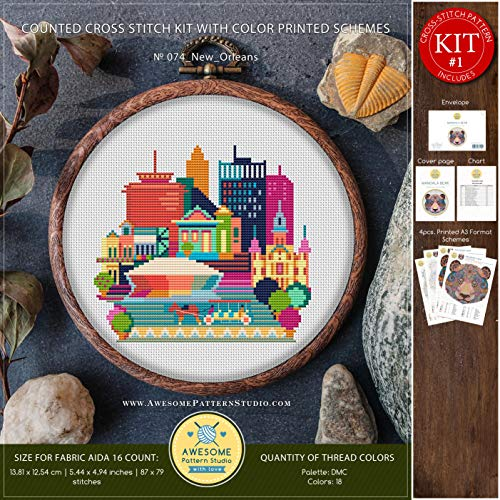 (New Orleans #K074 Cross Stitch Embroidery Kit | City Skyview Stitching | Embroidery Kits | Needlepoint Kits | Counted Cross Stitch | Cross Designs)