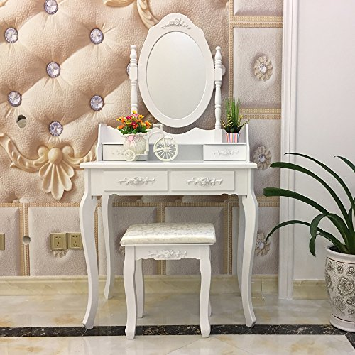 FCH Wooden White 4 Drawers Vanity Table Set Princess Vanity Makeup Table with Cushioned Stool by FCH