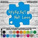Different Not Less Autism Awareness Puzzle Piece Vinyl Die Cut Decal Sticker for Car, Laptop, etc.