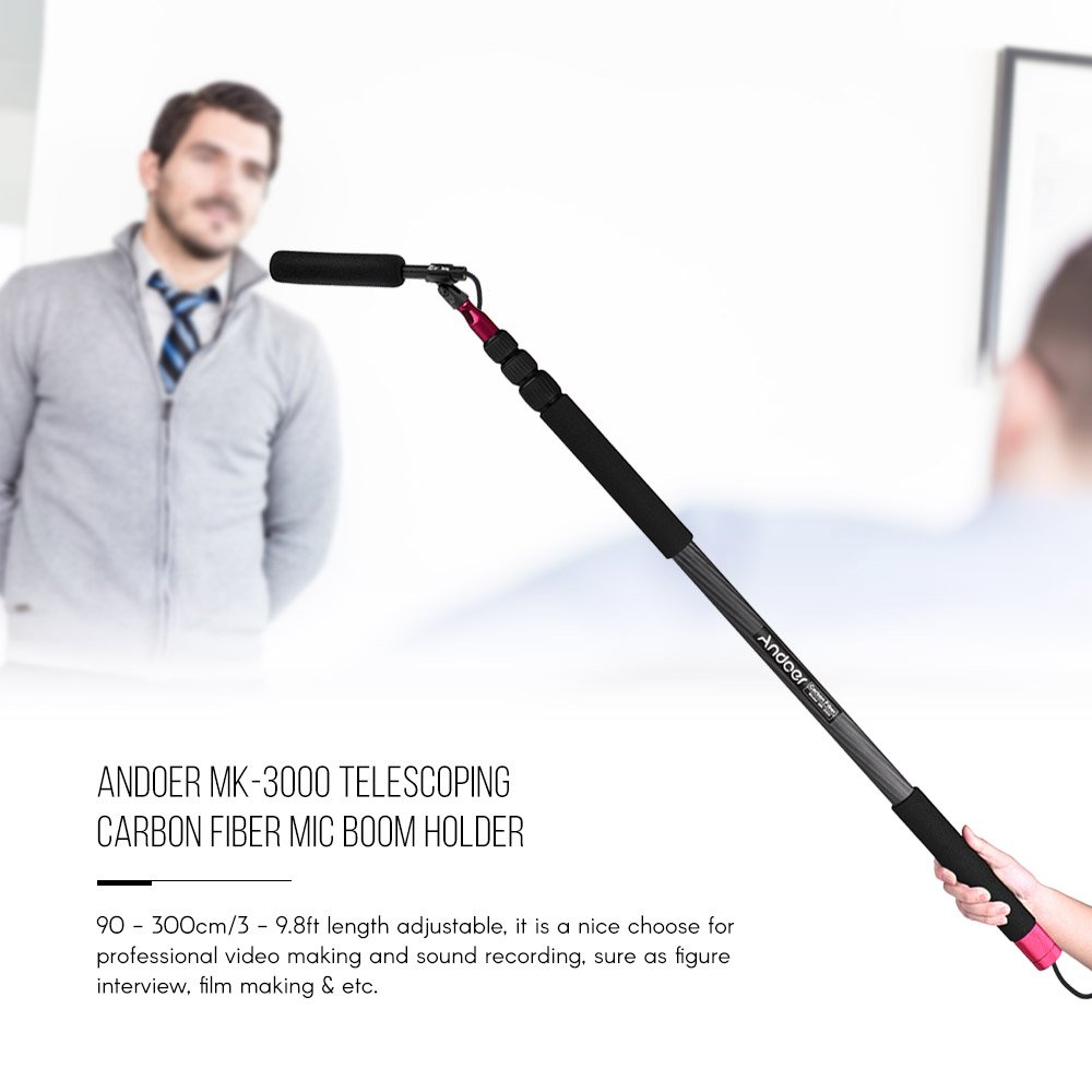 Andoer L/éger en fibre de carbone Microphone Support du bras bras du bras support dextension du support pour Canon Nikon Sony Cam/éra vid/éo Studio photographie denregistrement sonore