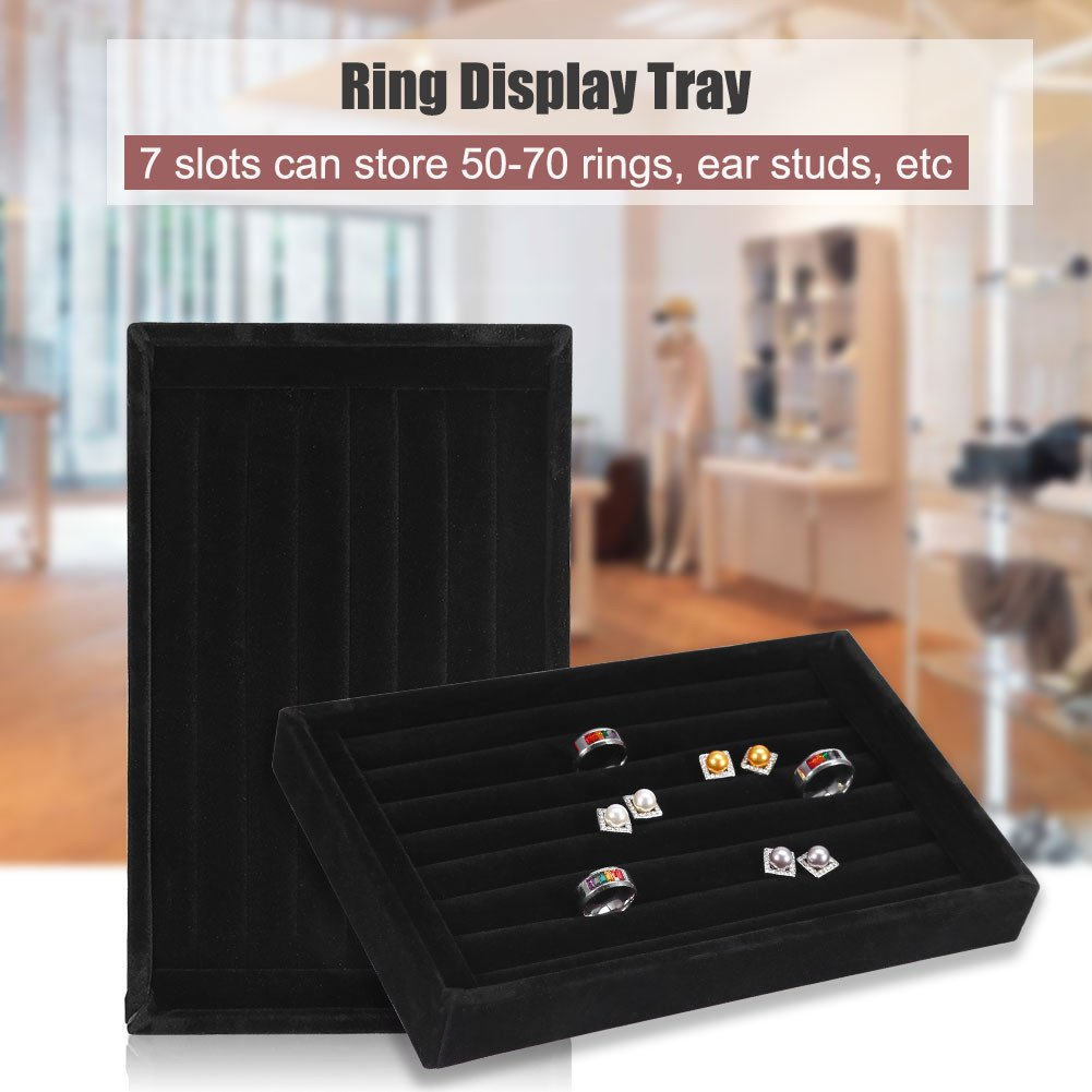Fashion Ring Display Box 2# Jewelry Display Tray Organizer Earring Holder Case Box Showcase for 7 Slots Can hold 50-70 Rings