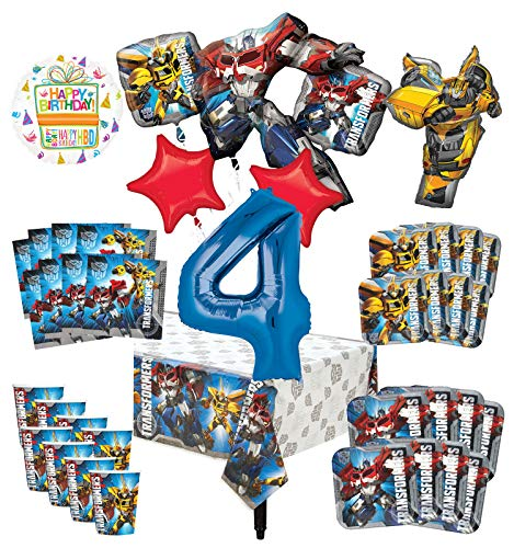 Transformers 4th Birthday Party Supplies 8 Guest Decoration Kit and Balloon Bouquet -]()