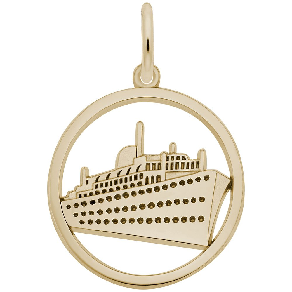 Rembrandt Charms, Cruise Ship, 10K Yellow Gold, Engravable
