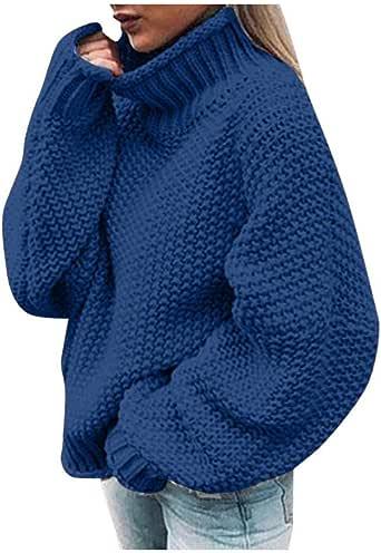VJGOAL Jerséis para Mujer Invierno Otoño Moda Casual Suéter de Cuello Alto de Color Liso Manga Larga Cuello de Cisne Tops de Punto Jerseys de Punto Sueltos