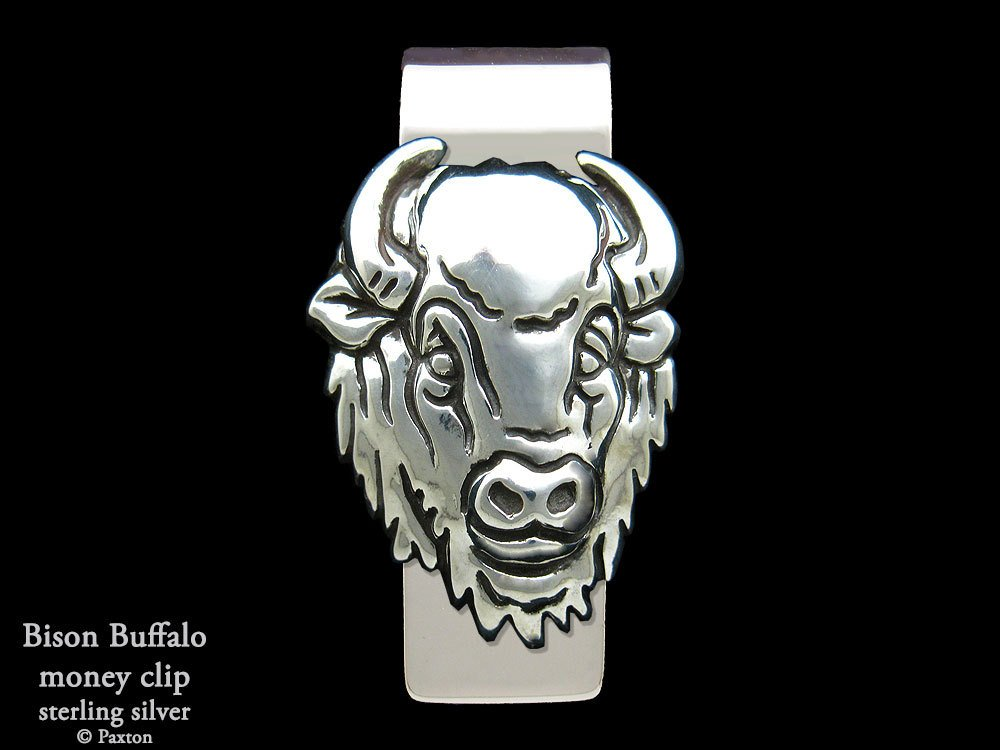 Bison Buffalo head Money Clip in Solid Sterling Silver Hand Carved, Cast & Fabricated by Paxton
