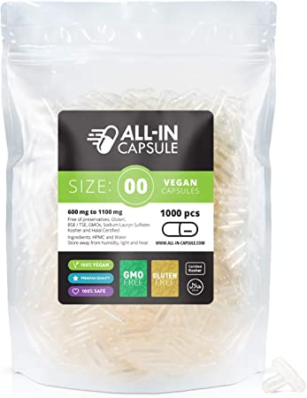 ALL-IN Capsule - Size 00 Clear Empty Vegetarian Capsules - 1000 Count Vegan Capsules Compatible with Capsule Filling Machine - Fillable with Powders of Your Choice
