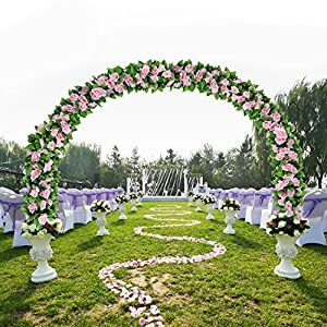 Flower Ivy Garland Artificial Silk Rose Garland,4 Strands Each Strand 7.9FT Fake Flower Ivy Leaf Vine Plants Home Hanging Party Garden Wedding Decor,Pink 2