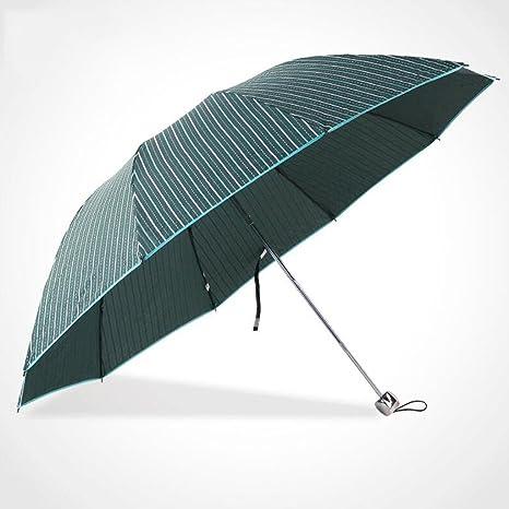 GAOLILI Paraguas cortavientos tres veces, paraguas rayado ...