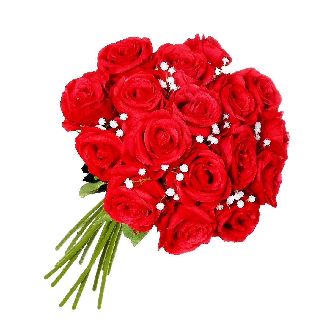 Justoyou, set di 9 rose artificiali, in seta, colore rosso, bouquet realistico, con gipsofila bianca, ideale per decorazione della casa o per le nozze J-9JBMGHOS1MTX