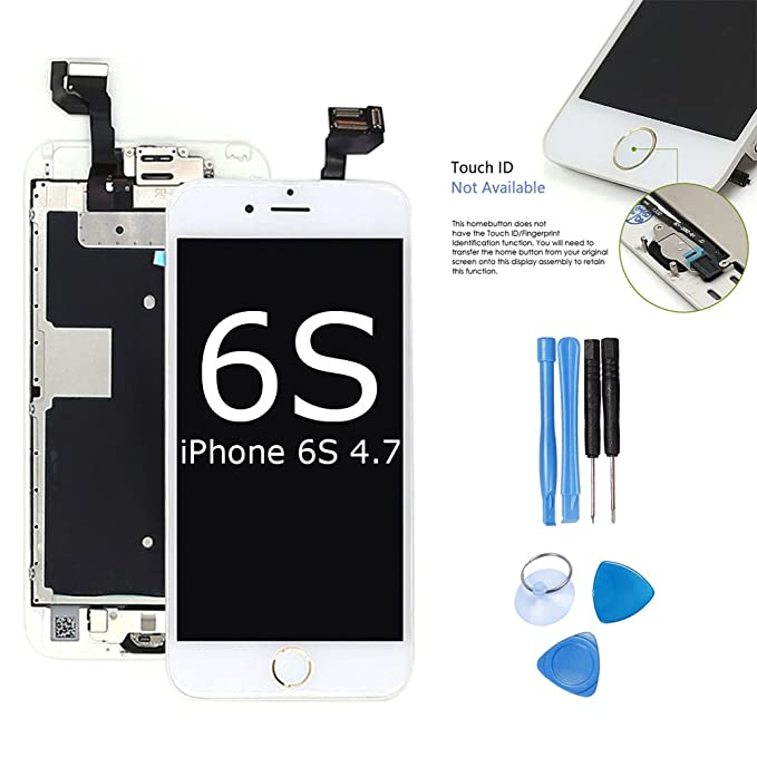 ibaye Screen Replacement Compatible iPhone 6S Touch Digitizer - ibaye 4 7  inch White Gold Button LCD Display Full Assembly with Home Button Front
