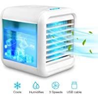 Personal Air Cooler, USB Evaporative Coolers with Waterbox, Portable LED Table Fan, 3 Fan Speed, USB Charging, Ultra-Quiet Table Fan for Home Office Bedroom Kids