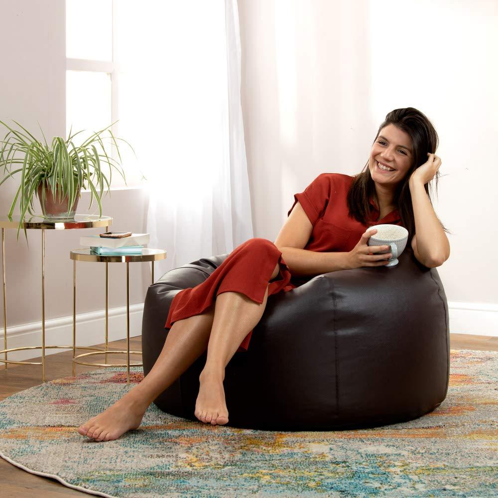 Bean Bag Bazaar Klassischer Sitzsack aus Kunstleder Sitzs/äcke f/ür das Wohnzimmer 85cm x 50cm Braun Gro/ß Sitzs/äcke f/ür Erwachsene