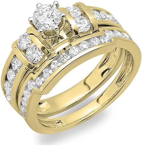 1.80 Carat (ctw) 14K Gold Round Diamond Ladies Bridal Engagement Ring Matching Wedding Band Set