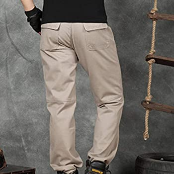 Straight Barrel Pure Color Overall Pant Mens Summer Loose Pure Cotton