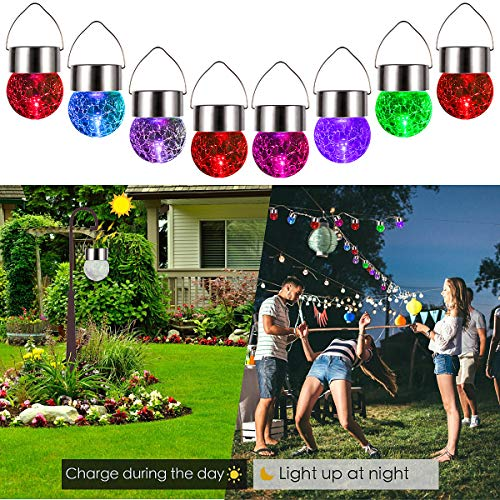 8 Pack Hanging Solar Lights Color Changing Cracked Glass Hanging Ball Lights
