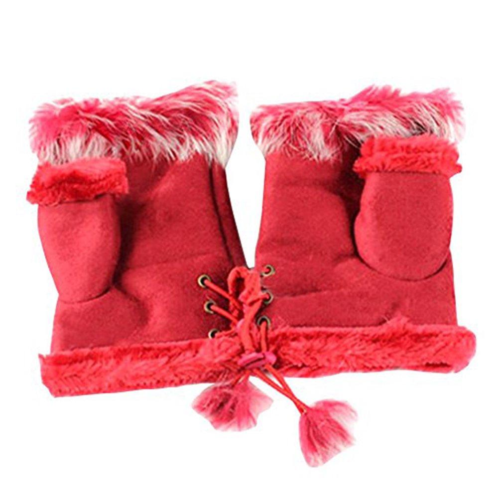 Gilroy Womens Ladies Rabbit Fur Leather Fingerless Suede Mittens Winter Wrist Gloves YCES1655315136X5234