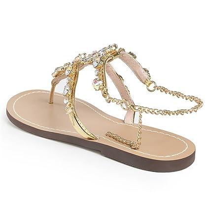 9ee1e39246d37 ... Genepeg Womans Sandals Rhinestones Chains Thong Gladiator Crystal Flat  Heels Sandals ...