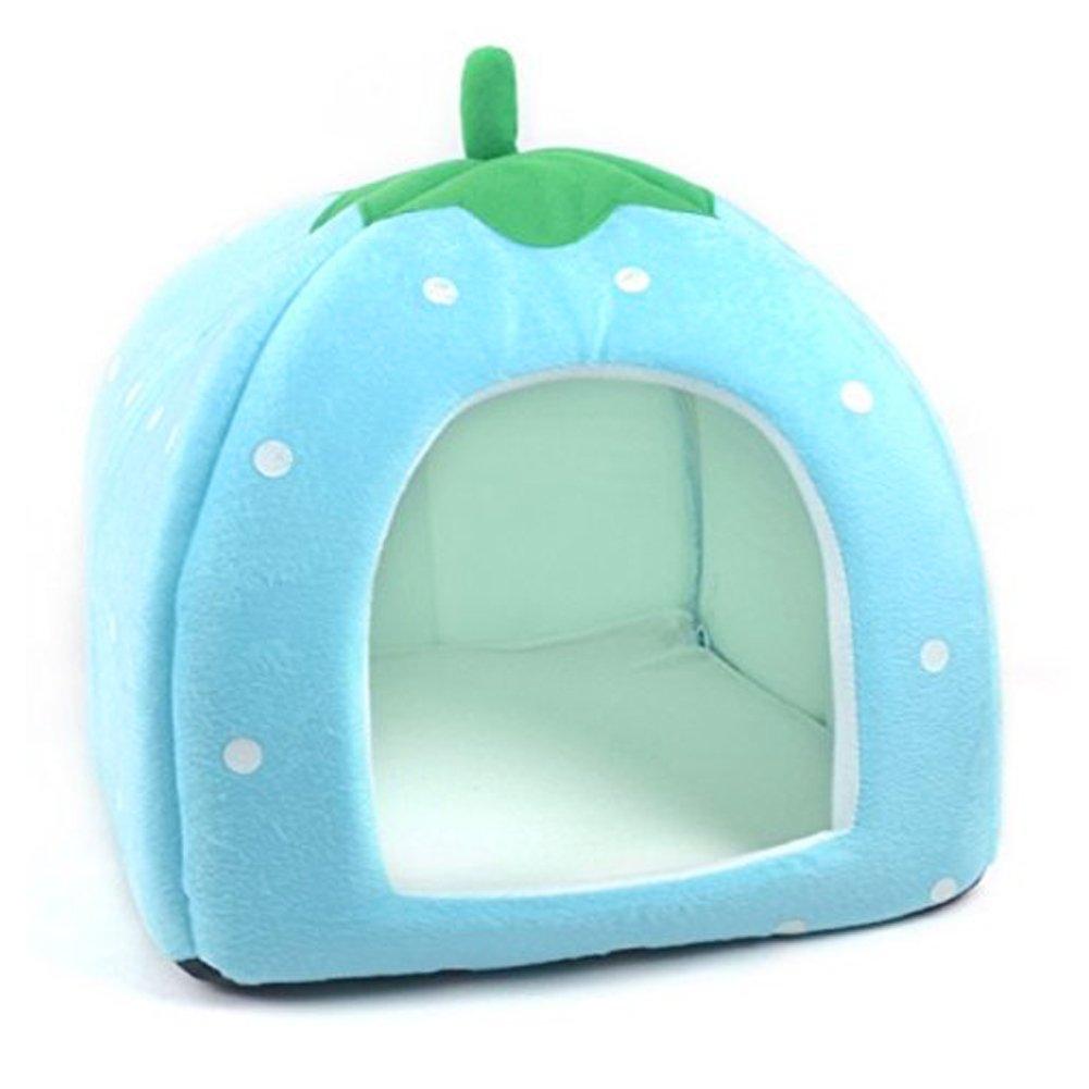 Upper letto di animali di felpa corta Perrera e letto di gatto rimovibile e lavabile a forma di fragola