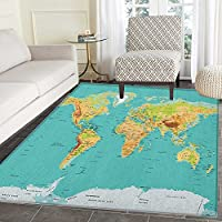 Map Area Silky Smooth Rugs Map of the World Geography Continents and Countries Physical Cartography Image Floor Mat Pattern 2x3 Sea Green Apricot