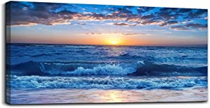 """canvas wall art for living room Blue Ocean Sea sun landscape painting bathroom Wall Decor Ready to Hang for Home Decorations office family bedroom kitchen Works canvas Prints pictures 24"""" x 48""""inch"""