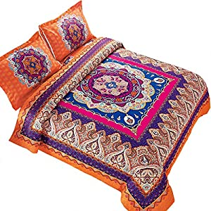 Wake In Cloud - Mandala Duvet Cover Set, Orange Bohemian Boho Chic Medallion Printed Soft Microfiber Bedding Zipper Closure (3pcs, Queen Size)