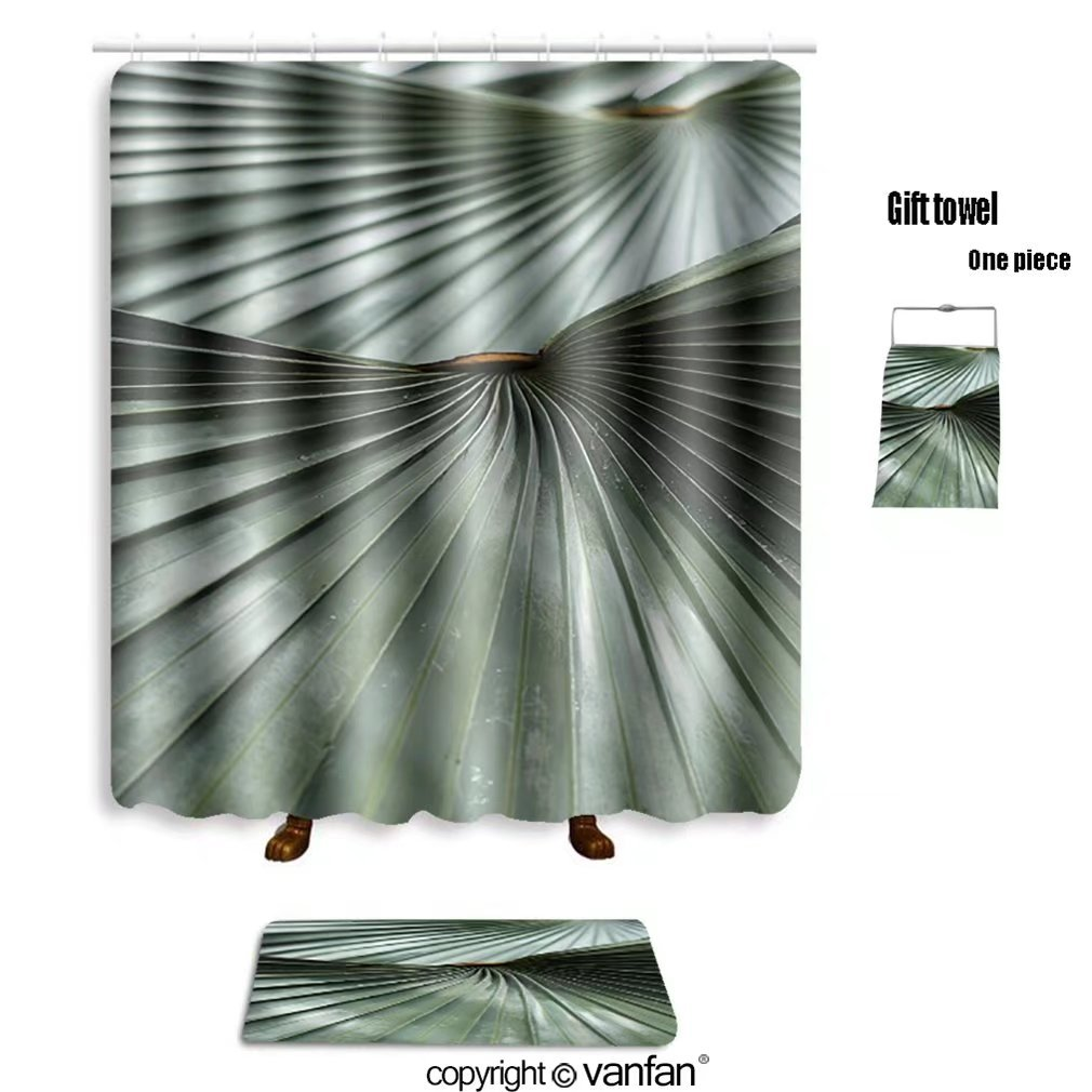 Vanfan Bath Sets With Polyester Rugs And Shower Curtain Leaf Blade Green Stripes 141191581 Curtains