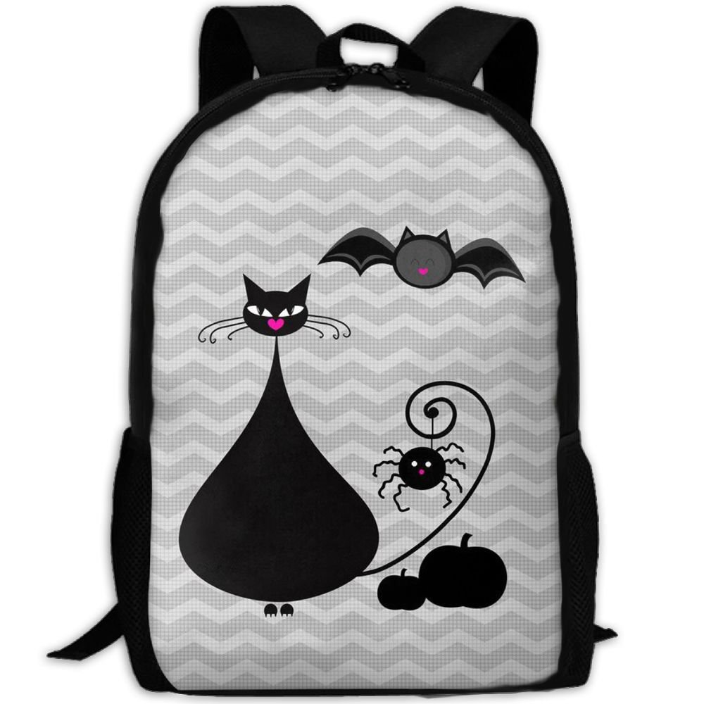 Black Fat Cat And Bat Double Shoulder Backpacks For Adults Traveling Bags Full Print Fashion