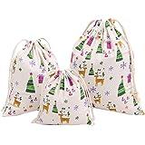 MagiDeal 3pcs Sac Cadeau Bonbon Noël à Cordon Coulissant Jute Coton Pochette Multifonction Sac de Rangement Fourre-tout Sous-vêtement - 1