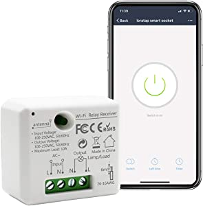 LoraTap Mini Smart WiFi Switch Wireless Remote Control Timer Switch Relay Module, Voice Control by Alexa, Google Home and Phone App, No Hub Required, 10A/1100W, 100-250VAC, White