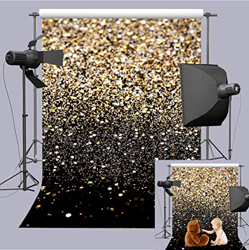 Black And Gold Fabric (Art Studio 5x7ft Fashion Wedding Photography Backdrops Gold Glitter Sequin Black Photo Background Starry Sky Shining Newborn Photo Children Birthday Party Decor Studio Props)