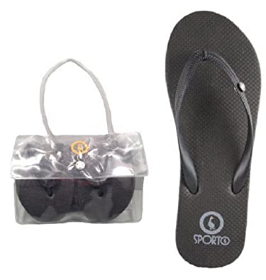 577e1224022c5 ... Sporto quot Zori quot Womens Foldable Flip Flops with Carrying Case in  Black ( official site ...