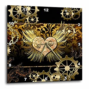 3D Rose Steampunk Heart Gears Golden Design Wall Clock, 13″ x 13″