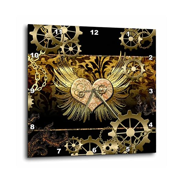 "3D Rose Steampunk Heart Gears Golden Design Wall Clock, 13"" x 13"" 3"