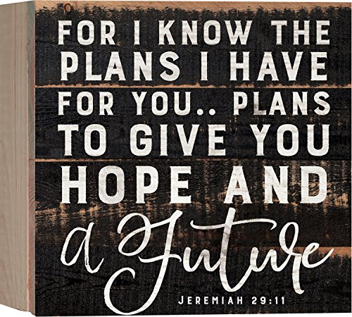 For I Know The Plans I Have For You Black 7 x 7 Inch Solid Pine Wood Boxed Pallet Wall Plaque Sign (Know Sign)