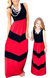 75ce05911f BYM Mommy Daughter Outfits Summer Sleeveless Striped Casual Print Tank Maxi  Long Dress