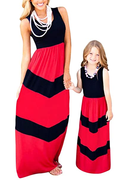 989c7ed6ccfa BYM Mommy Daughter Outfits Summer Sleeveless Striped Casual Print ...