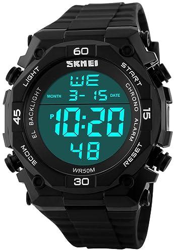 Fanmis Waterproof Led Watches Outdoor Sports Digital Display Multifunctional Military Watch Black