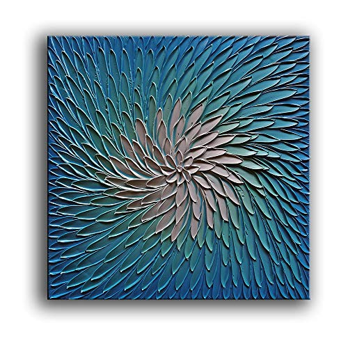 (YaSheng Art - 3D Metallic Bead Light Blue and Silver Texture Oil Painting on Canvas Abstract Art Pictures Canvas Wall Art Paintings Modern Home Decor Abstract Paintings Ready to Hang)