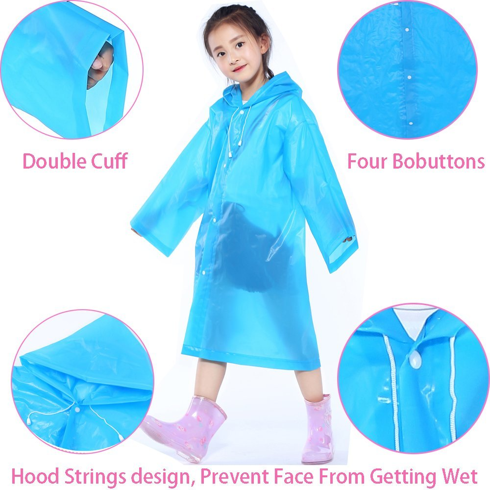 Amazon.com: Raincoat Rain Poncho Jacket Slicker Outwear for Children[Thicker & Reusable & Lightweight]Emergency Rain&Wind Coat Cloak Wear for 6-12 Y/O. ...
