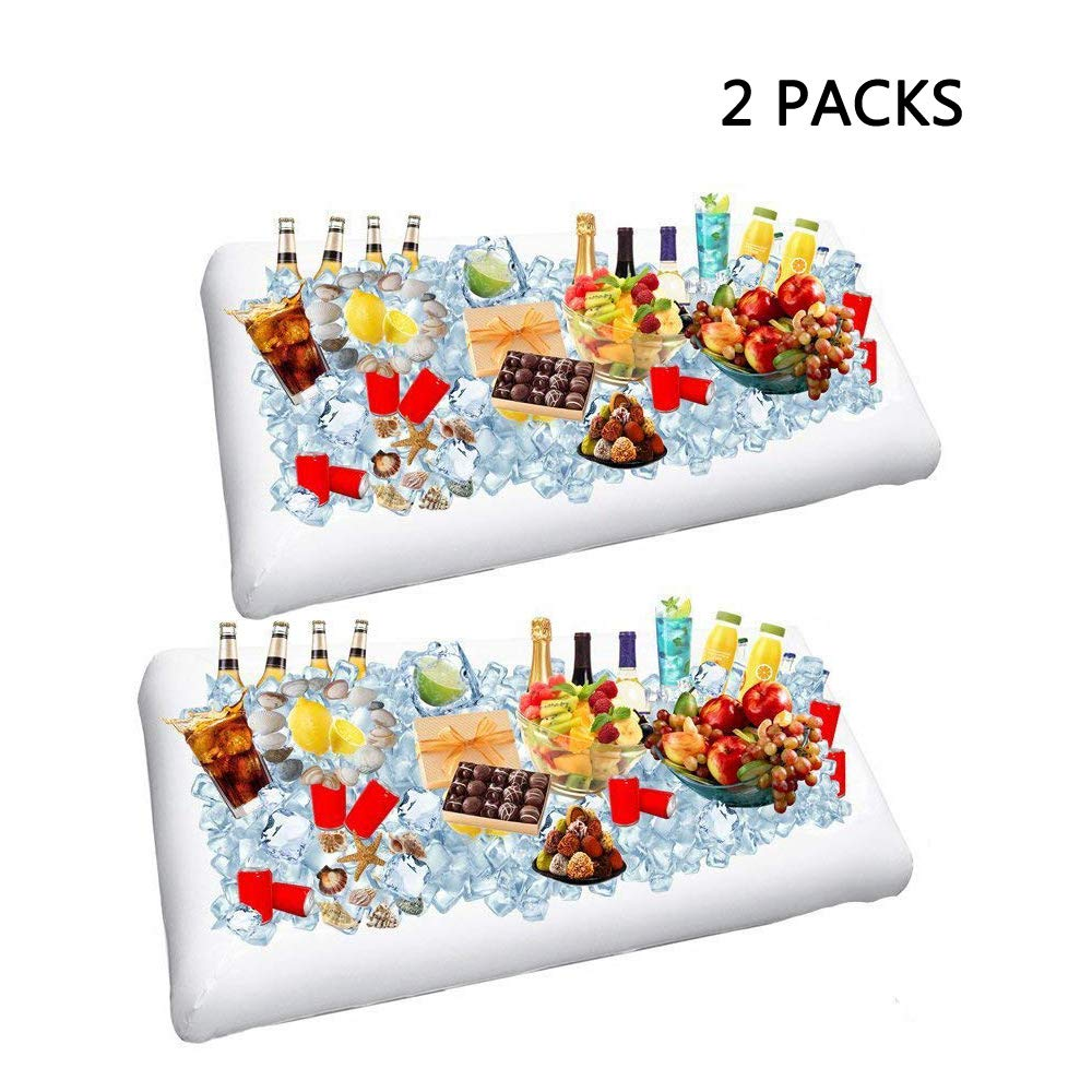 2 Pack Inflatable Salad Bar Buffet Ice Cooler Beverage Serving Bar Food Drink Holder for Party Picnic BBQ Luau with Drain Plug by Wisewife by Wisewife