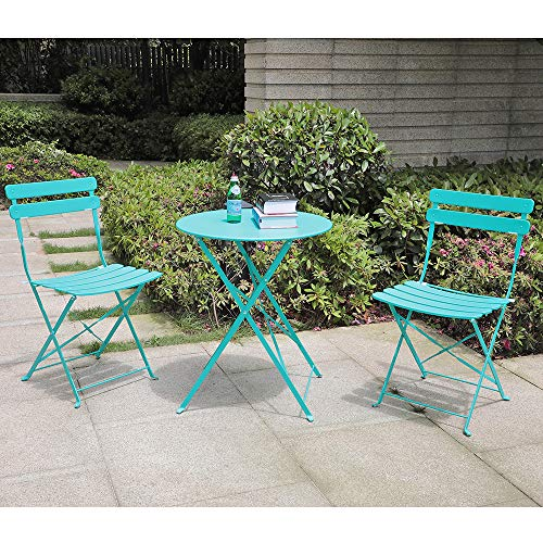 Orange-Casual 3 Pieces Patio Bistro Set Folding Steel Furniture Balcony Table and Chairs Sets, Blue
