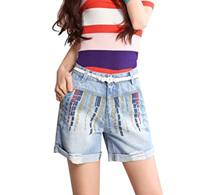 7bc2a578e9 Image Unavailable. Image not available for. Color: Fashion Design Summer  Girls Retro Embroidery Denim Shorts Jeans ...