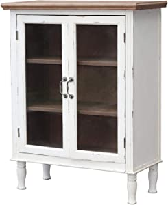 Farmhouse Wood Cabinet with 2 Glass Doors and 3 Shelves, Distressed White and Natural Wood Storage Cabinet for Kitchen, Dinning Room, Bathroom, Vintage Wood Furniture, 33 1/8 x 15 1/2 x 42 3/4 Inches